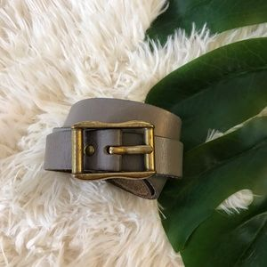 Gap | Steel Gray Genuine Leather Gold Buckle Belt